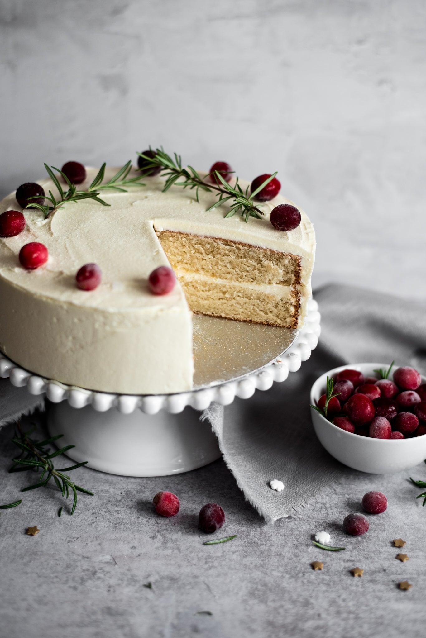 Snowy White Christmas Cake