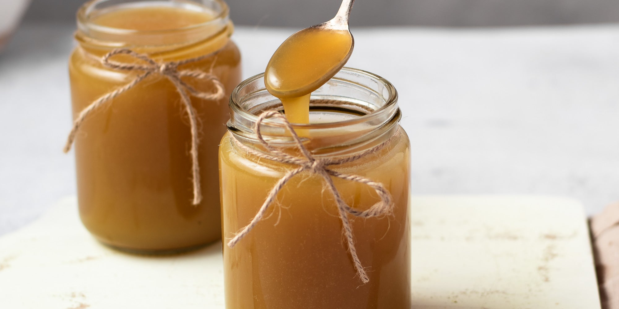 Toffee Sauce poured into a jar