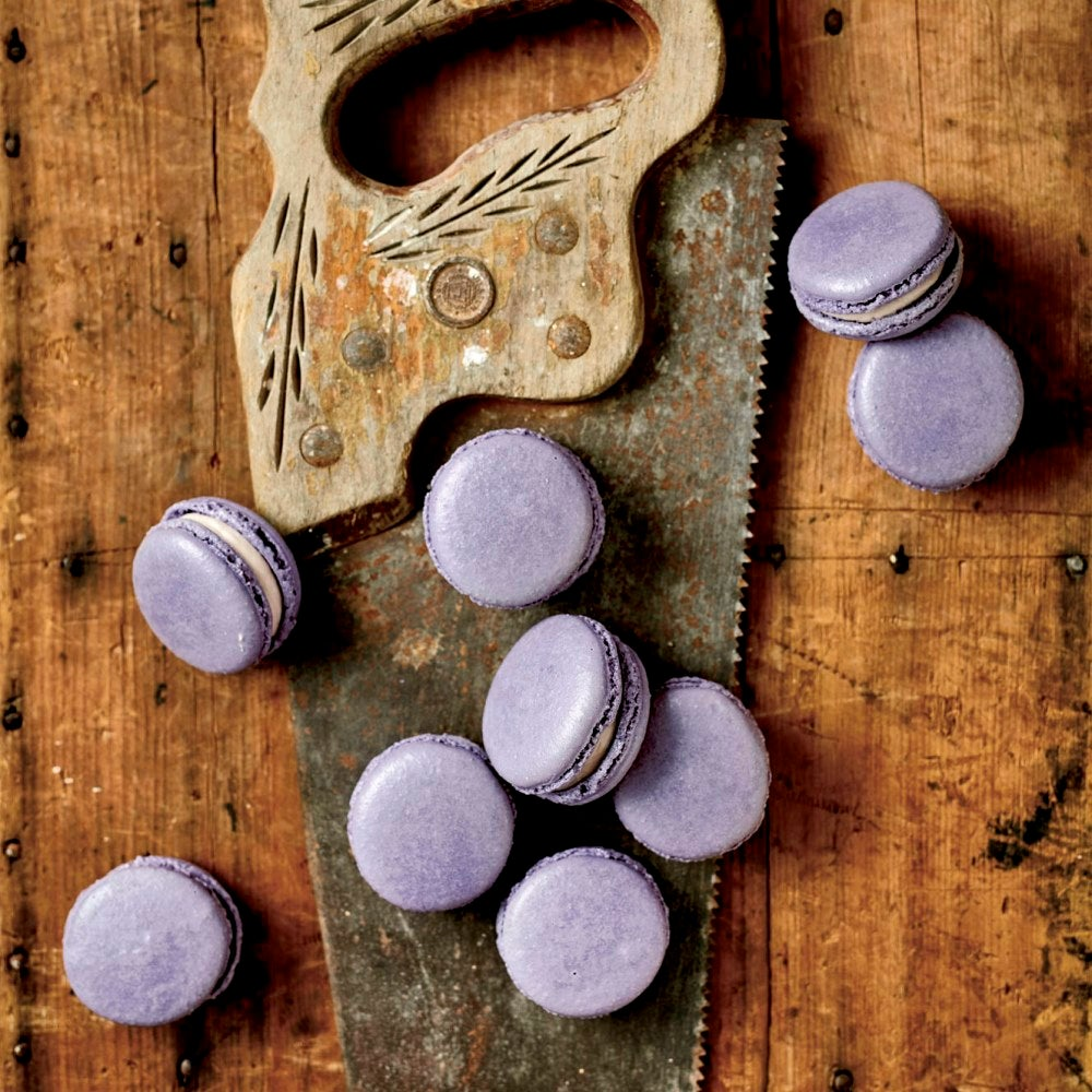 Top down view of selection of blackcurrant macarons