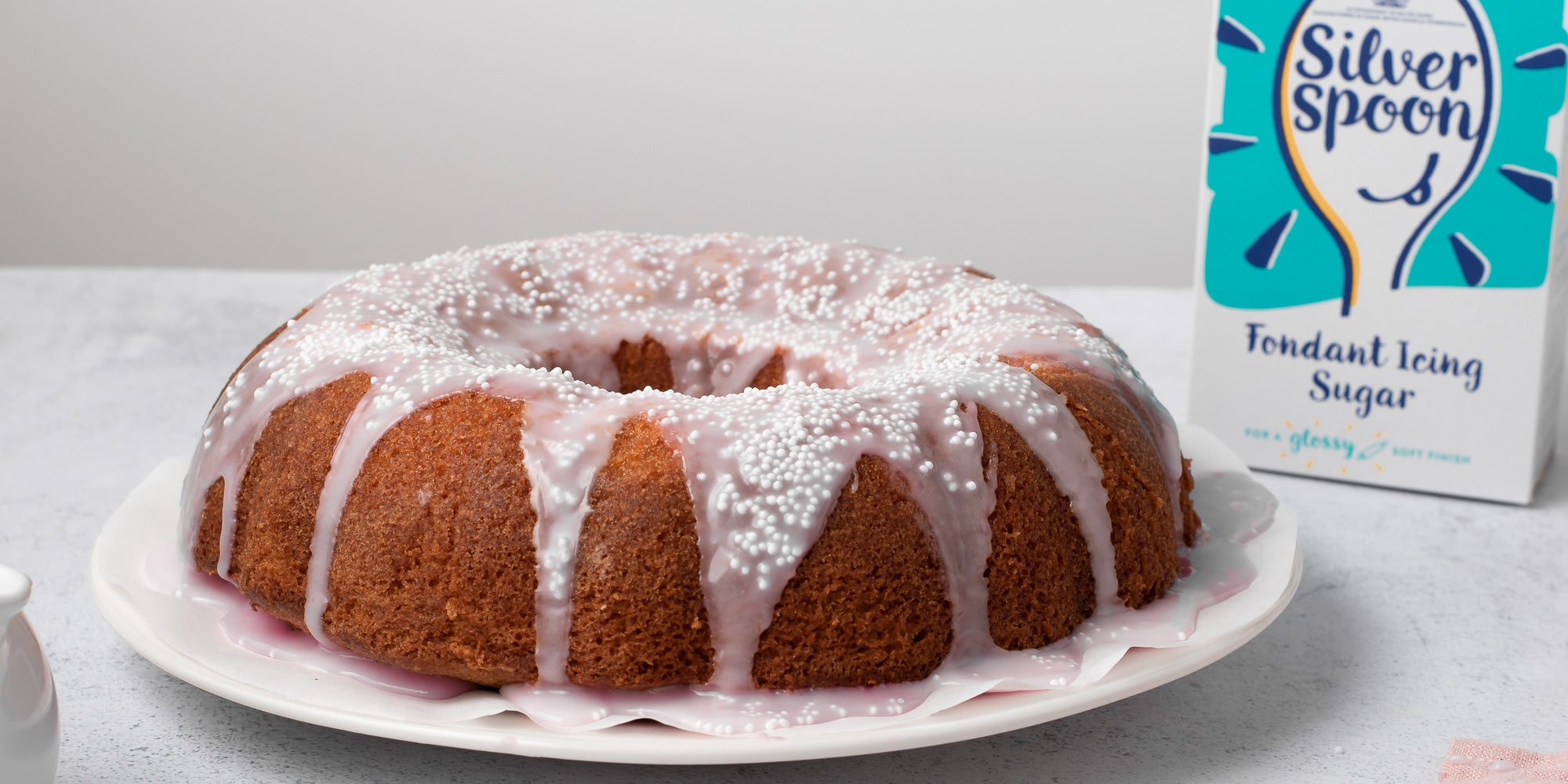 Strawberry Marble Bundt Cake on a plate