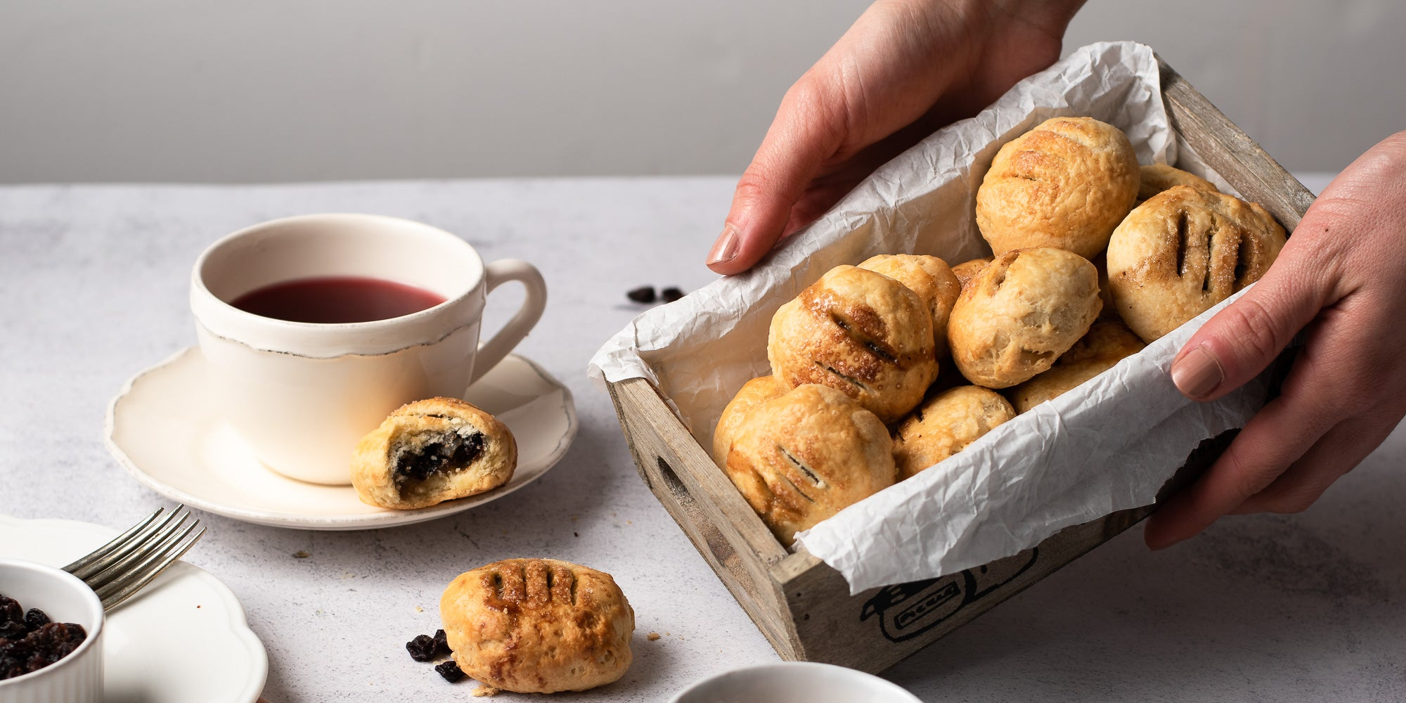Eccles Cakes in a tin