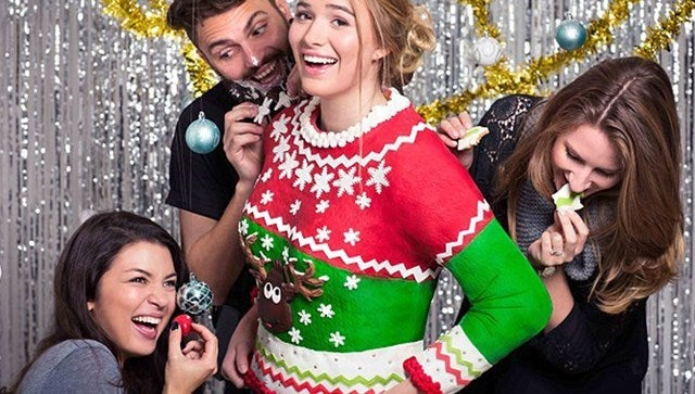 Person wearing an edible Christmas jumper