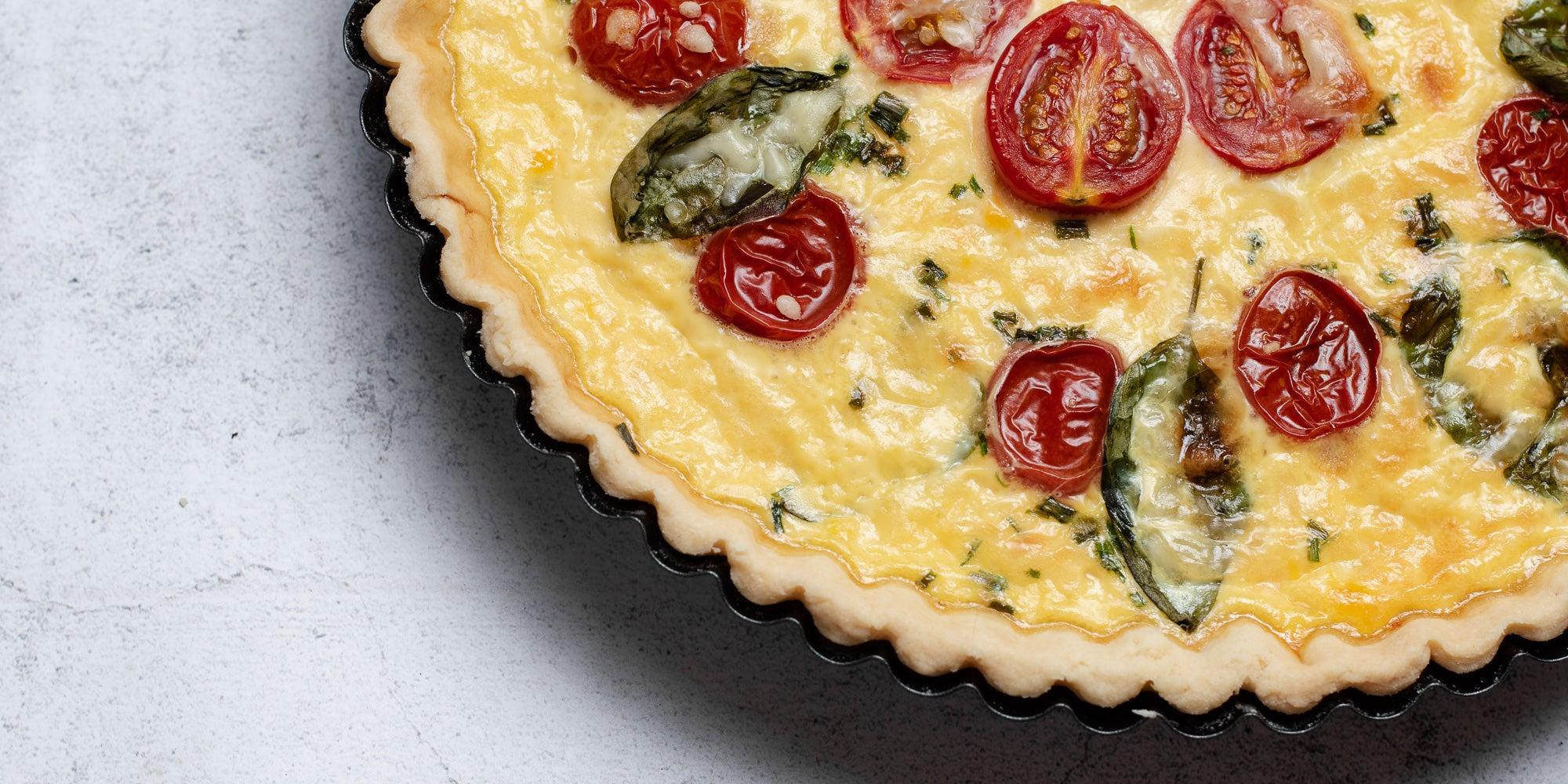 Close up of a Cheese & Tomato Quiche