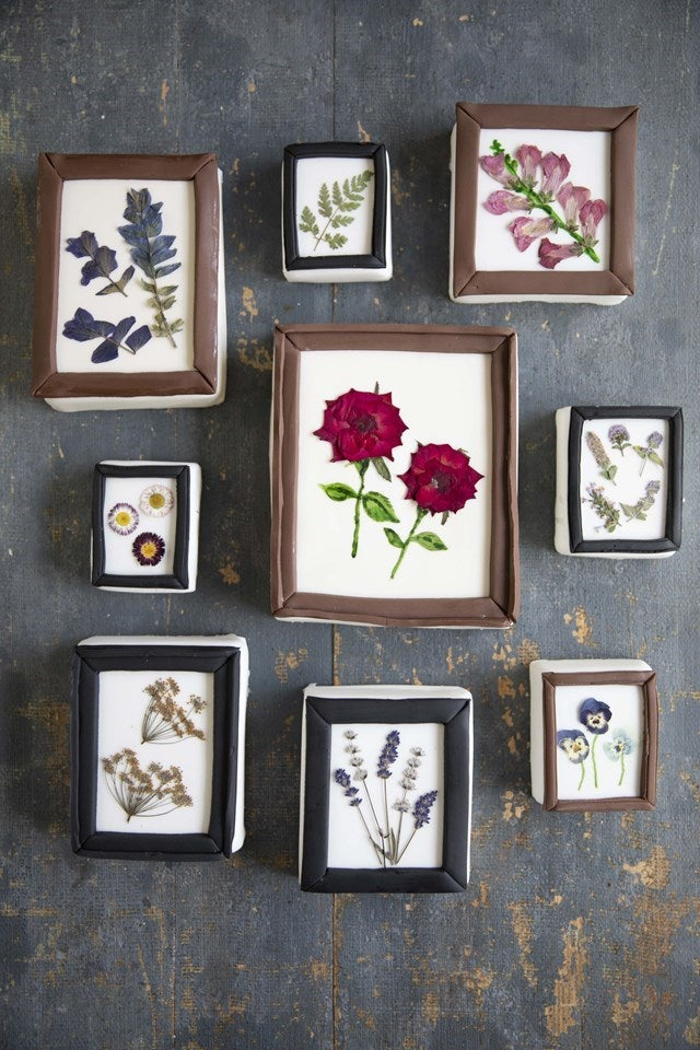 Edible flowers in frames