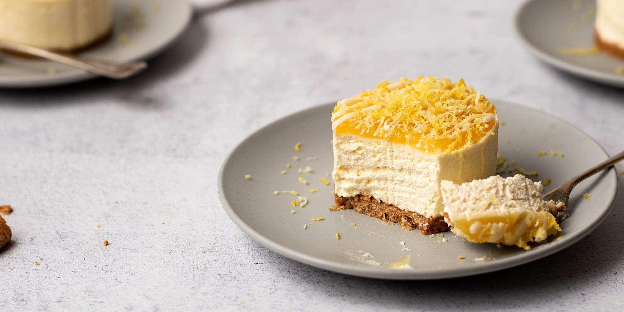 Mini Lemon Amaretti Cheesecakes bite taken out