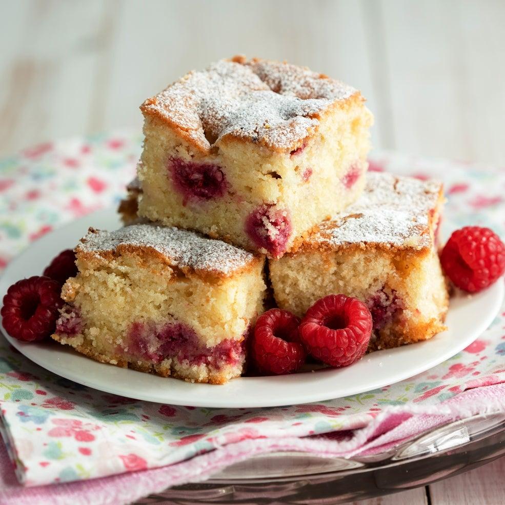 Reduced Sugar Raspberry and White Chocolate Tray Bake