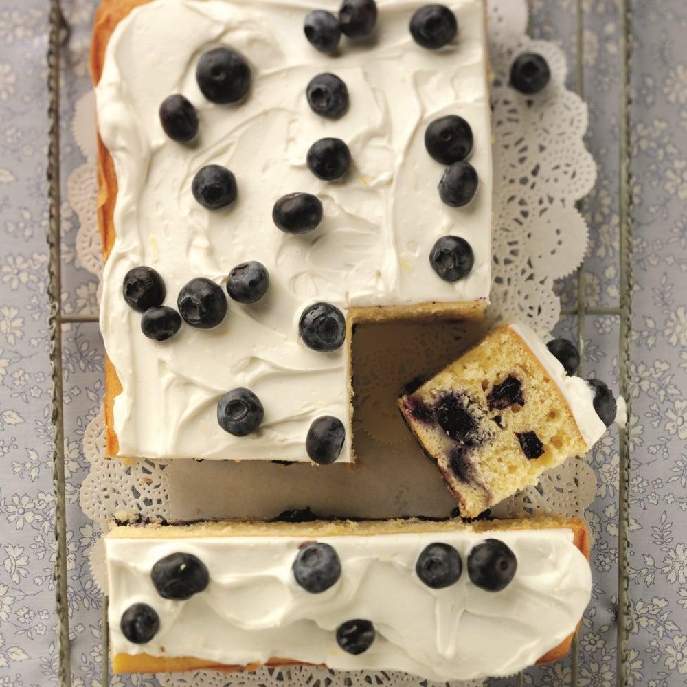 Lemon and blueberry tray bake