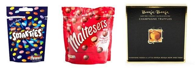 Smarties, Malteasers and Booja booja chocolates