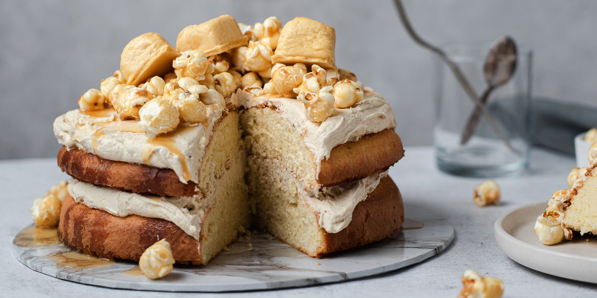 Caramel Cake topped with popcorn