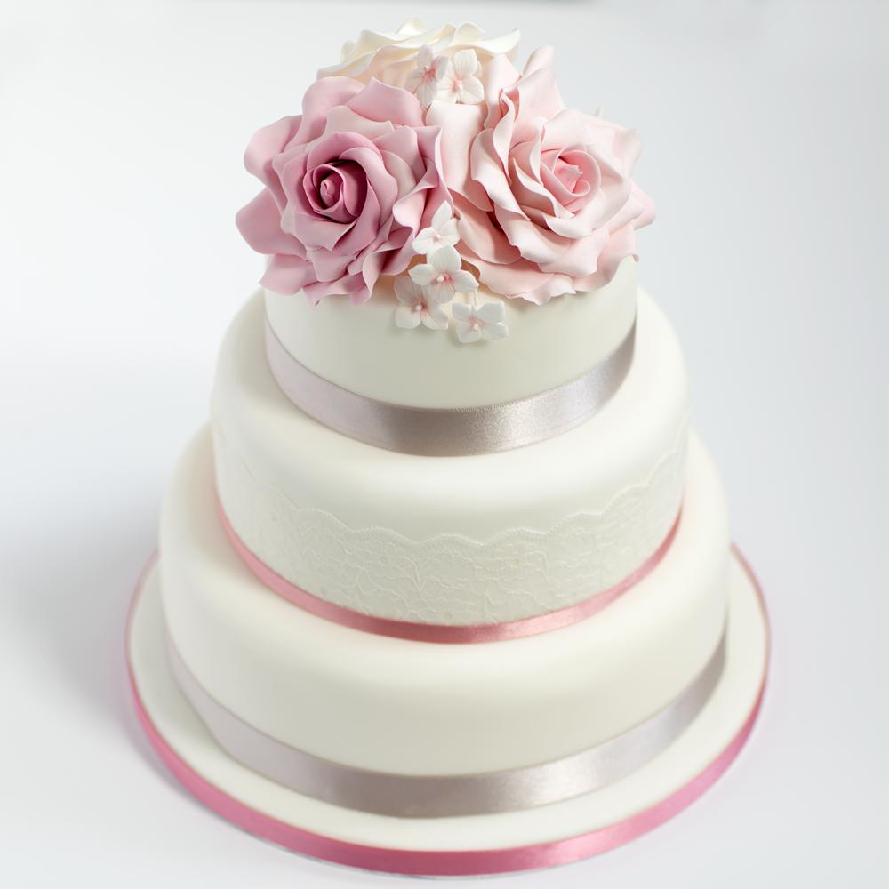 Three tier sponge wedding cake