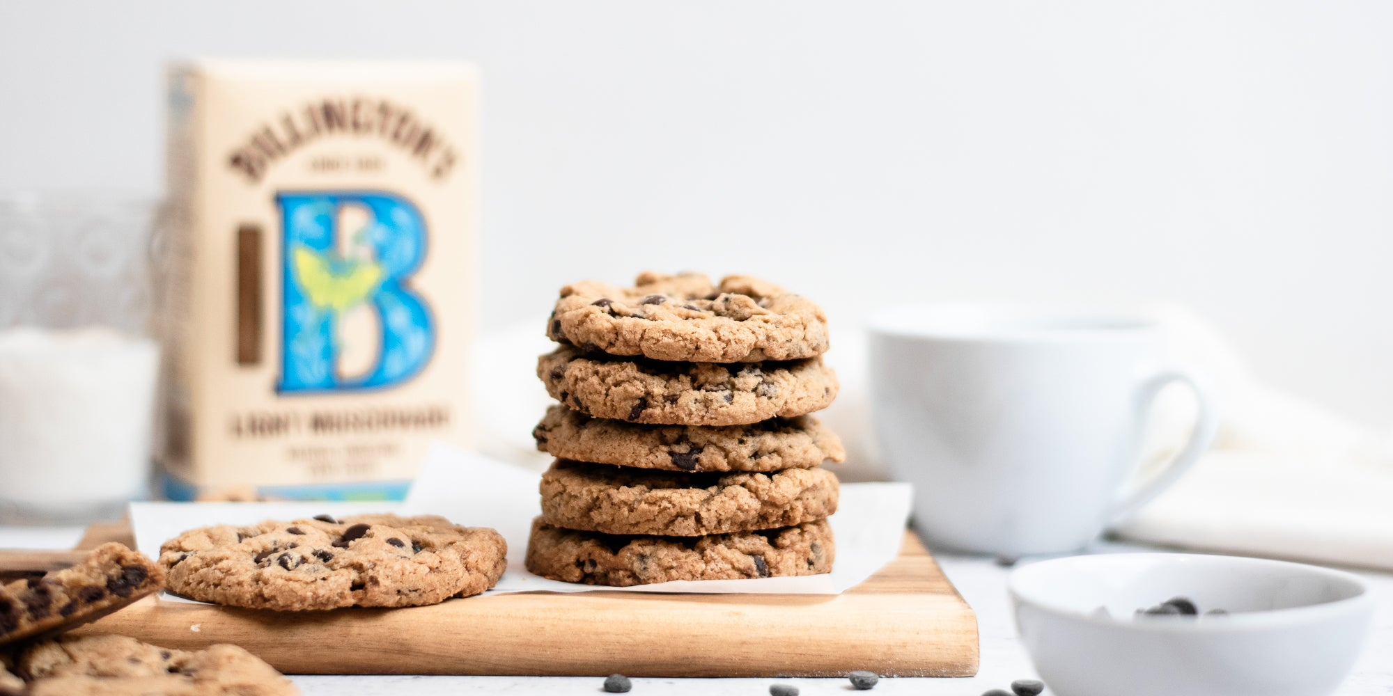 Side on view of a stack of vegan and gluten free cookies
