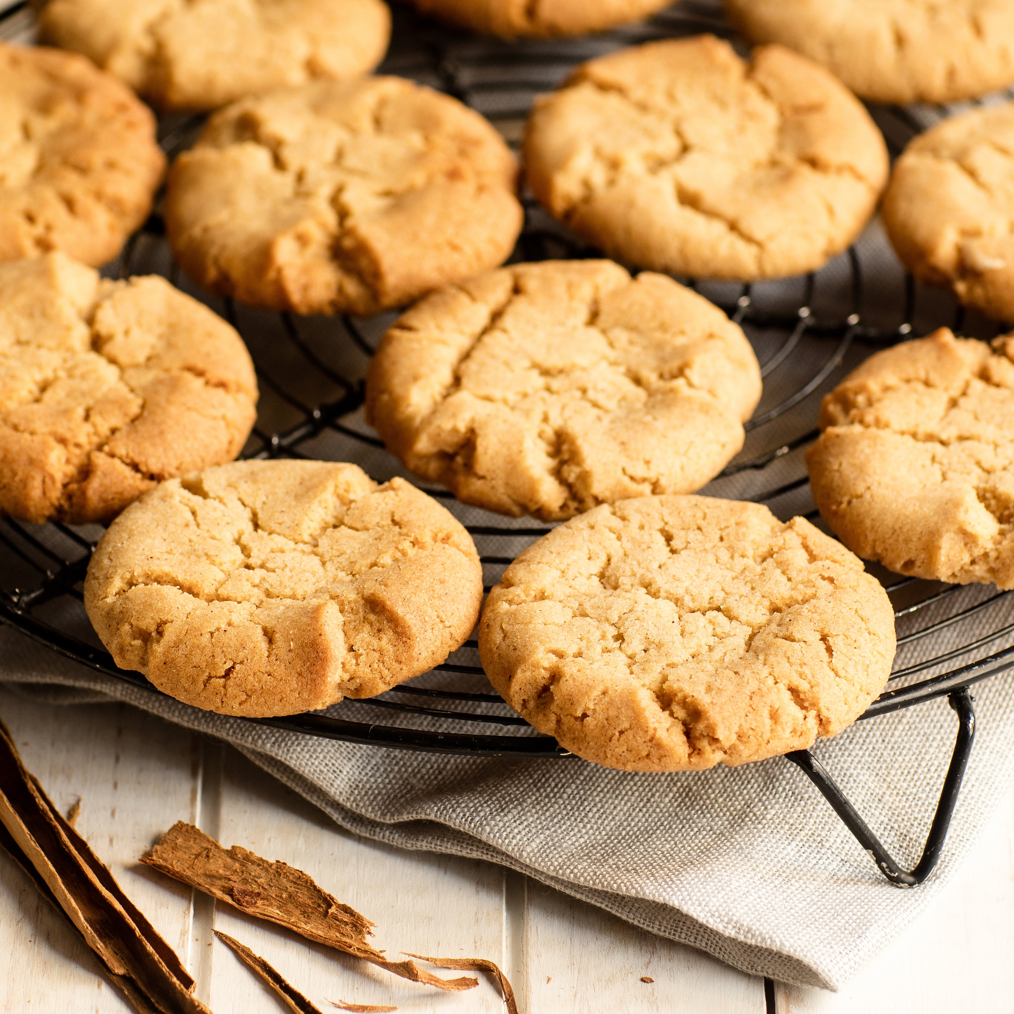 Biscuits laid out on circular cooking rack