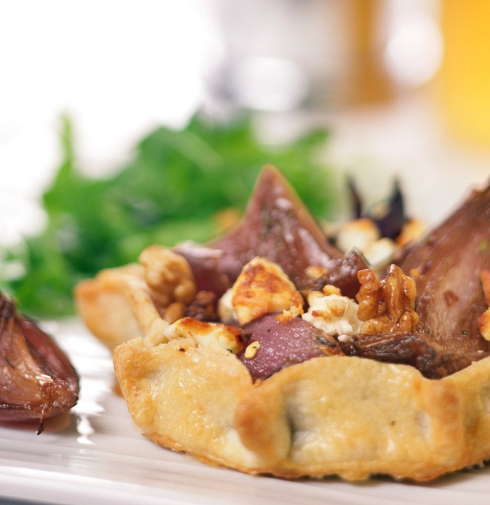 Roasted Balsamic Red Onion and Feta Tarts