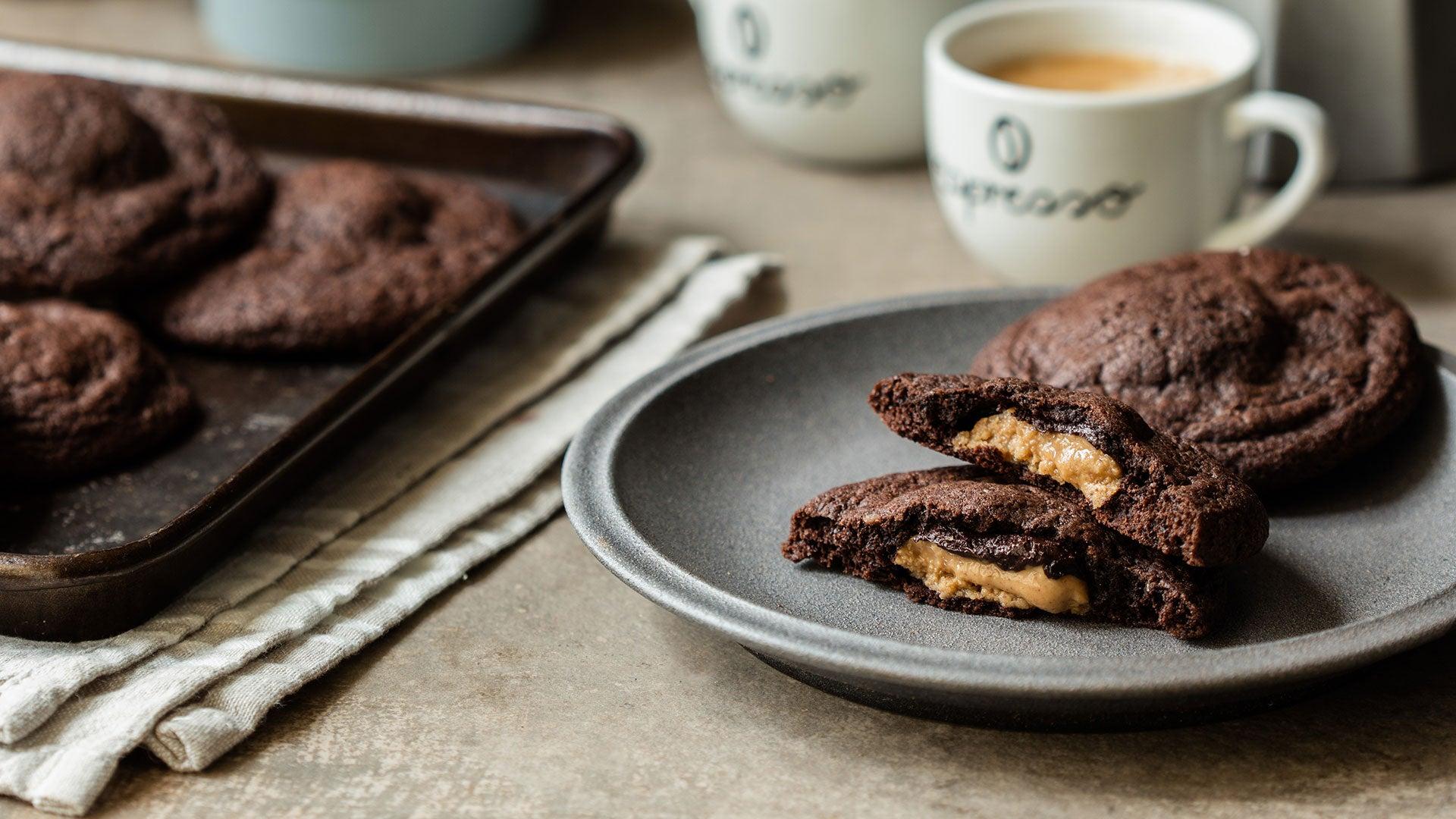 Chocolate & Peanut Butter Stuffed Cookies