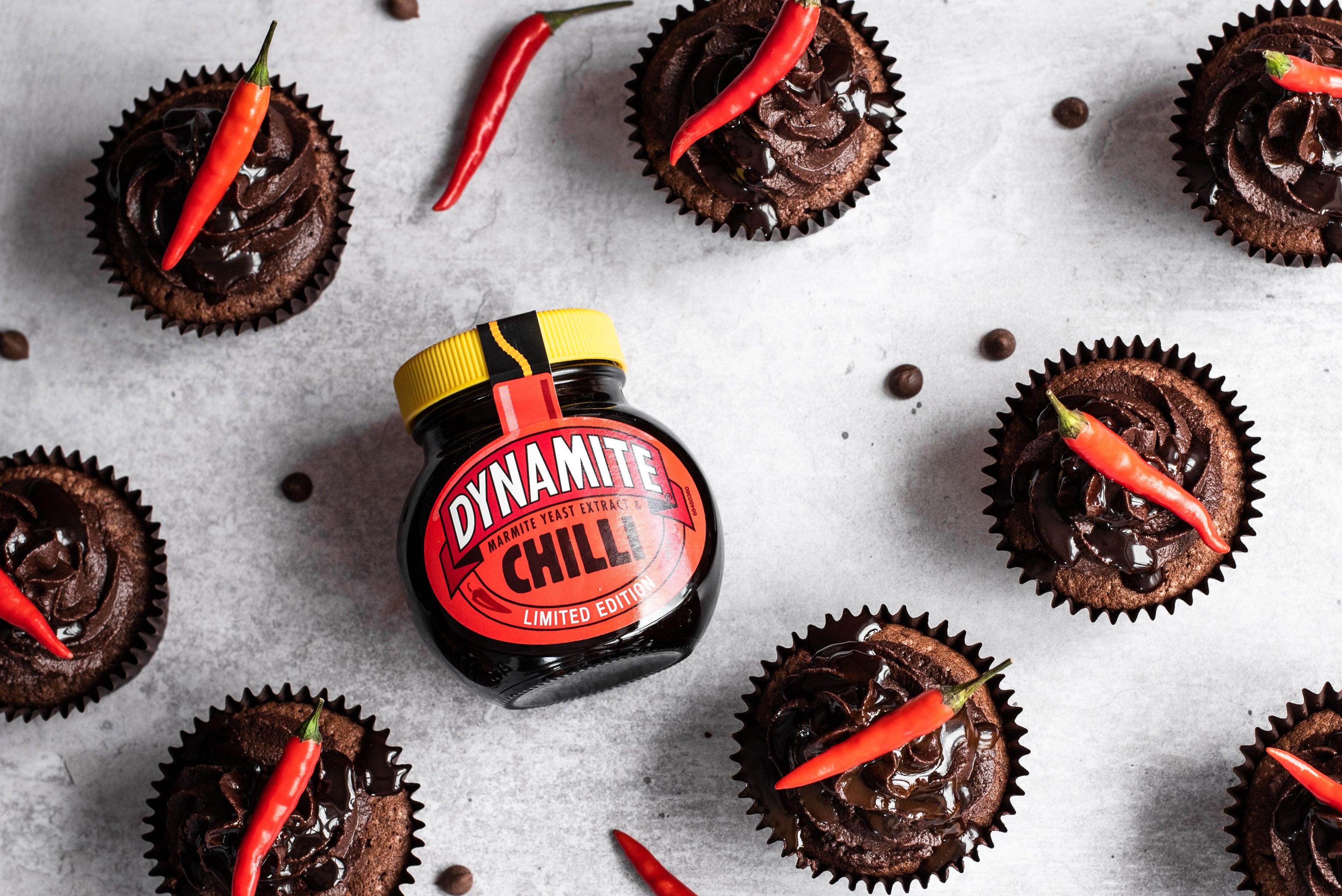 birds-eye view of chocolate cupcakes next to dynamite chilli jar