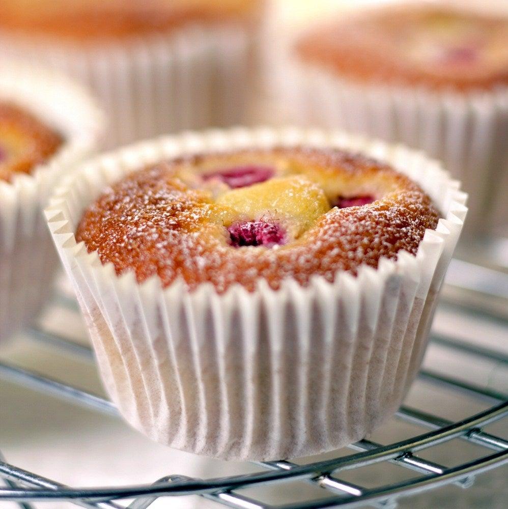 Raspberry friands fairy cakes