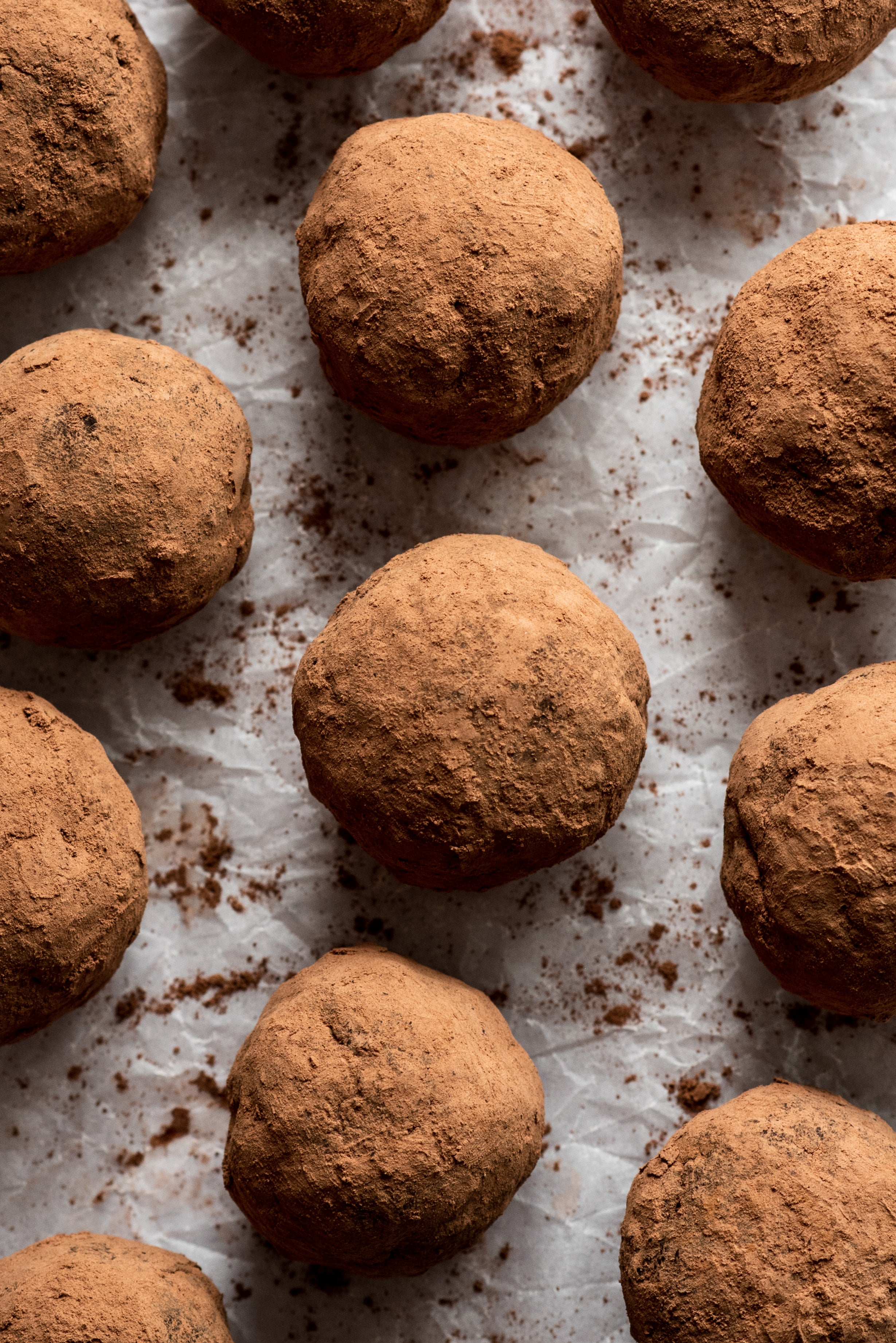 12 cocoa dusted brownie truffles