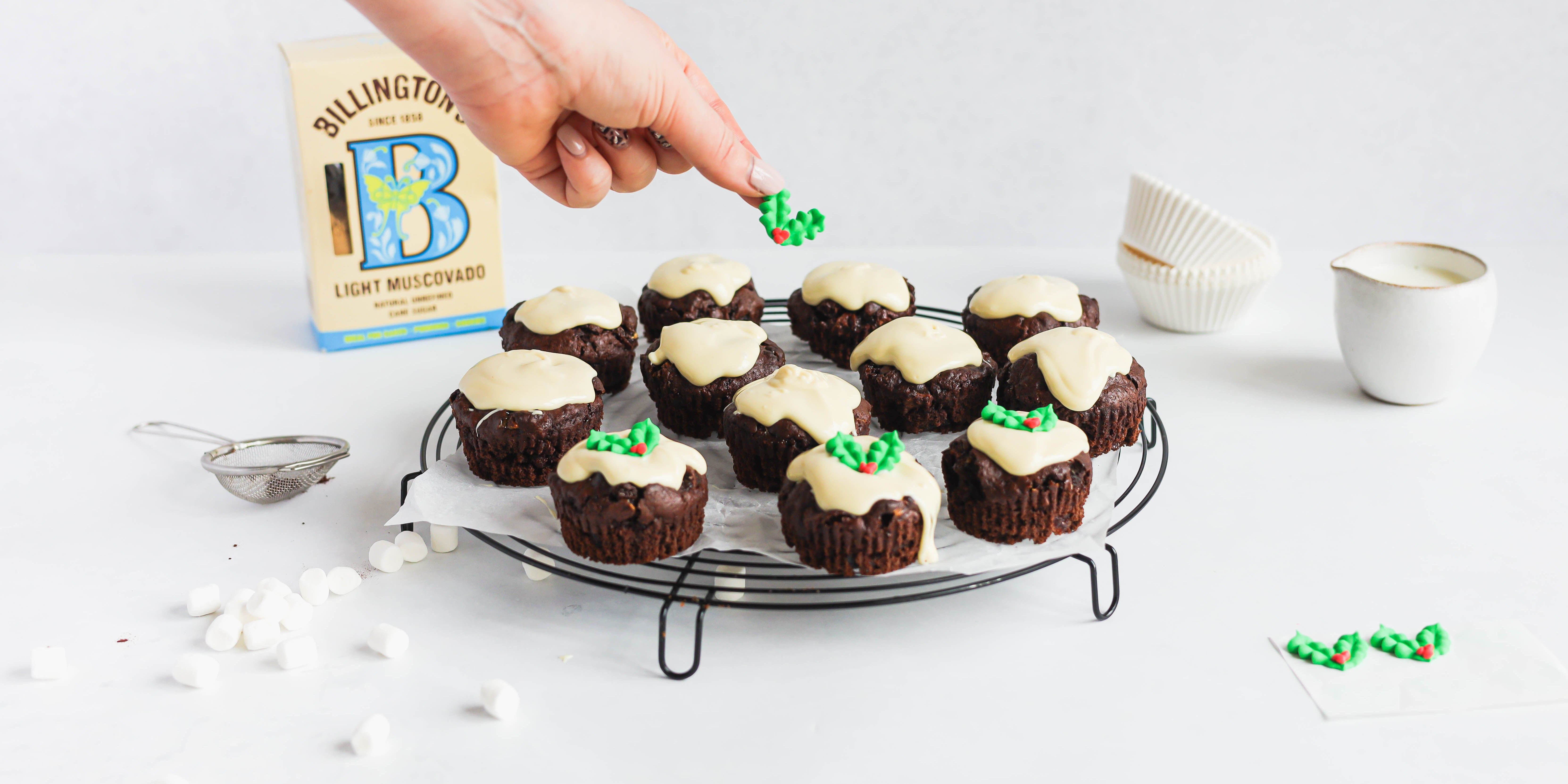 Mini Rocky Road Christmas Pudding Muffins
