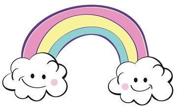 cartoon rainbow with clouds