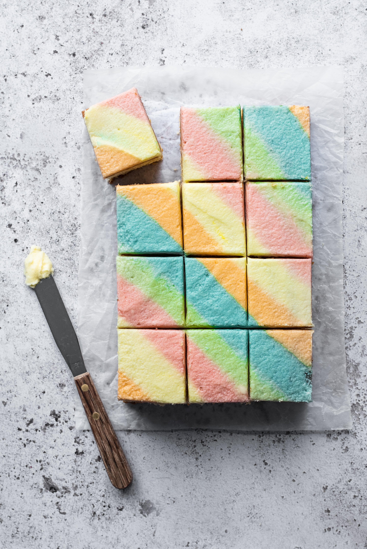 Rainbow buttercream on tray bake