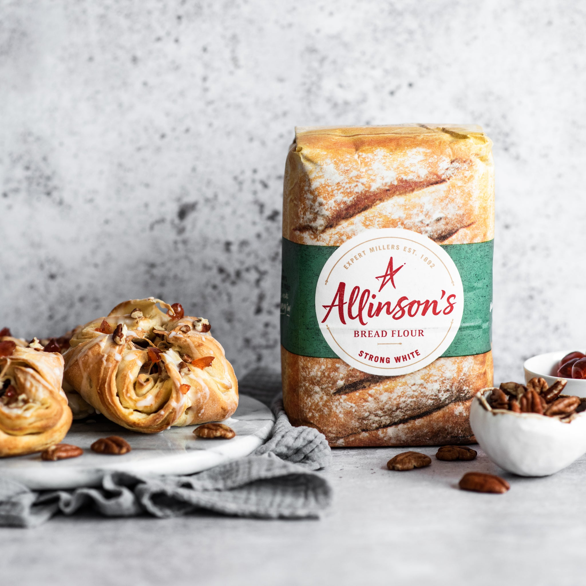 Two danish pastries and flour pack
