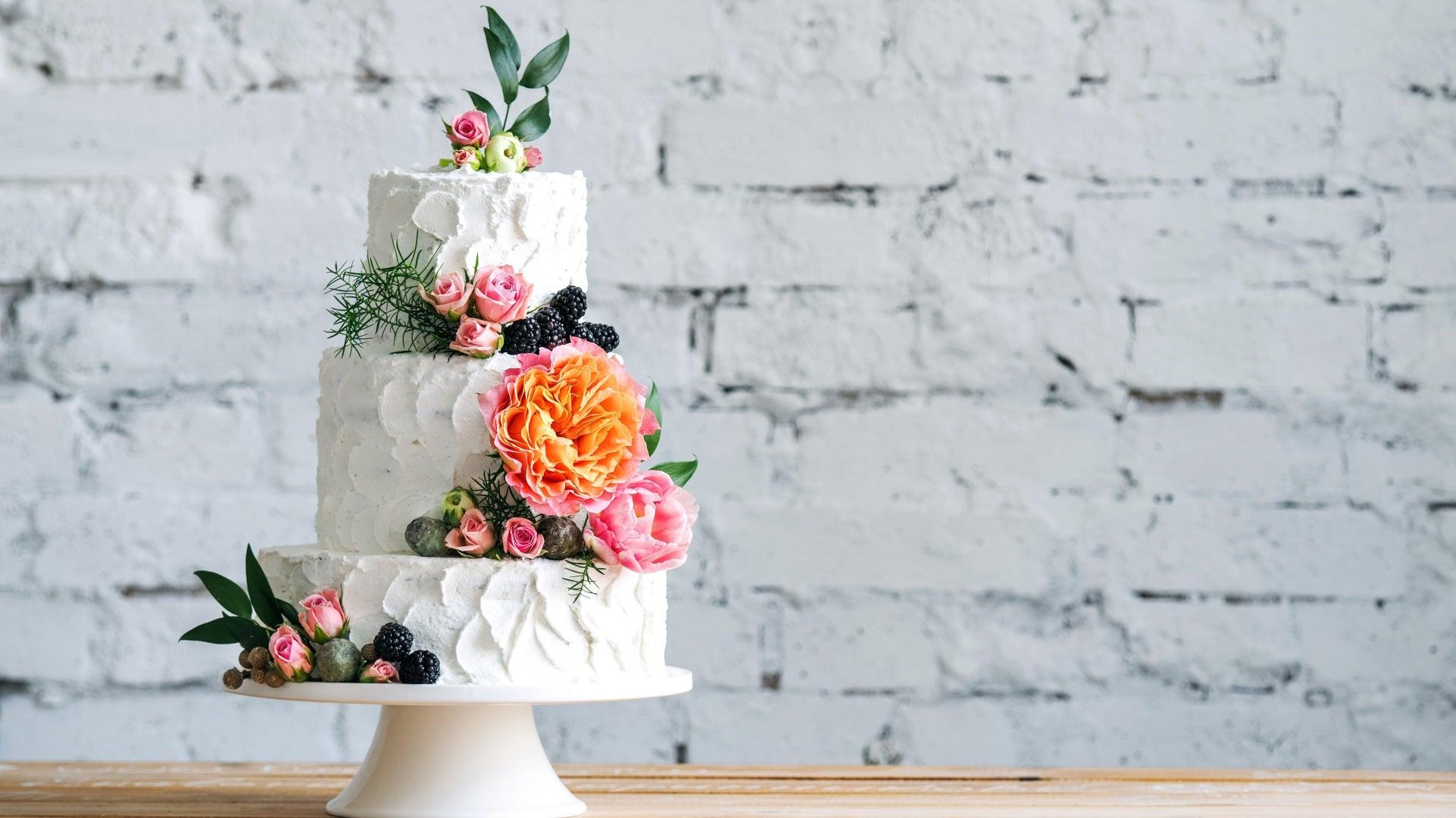 Three Tier Fruit Wedding Cake