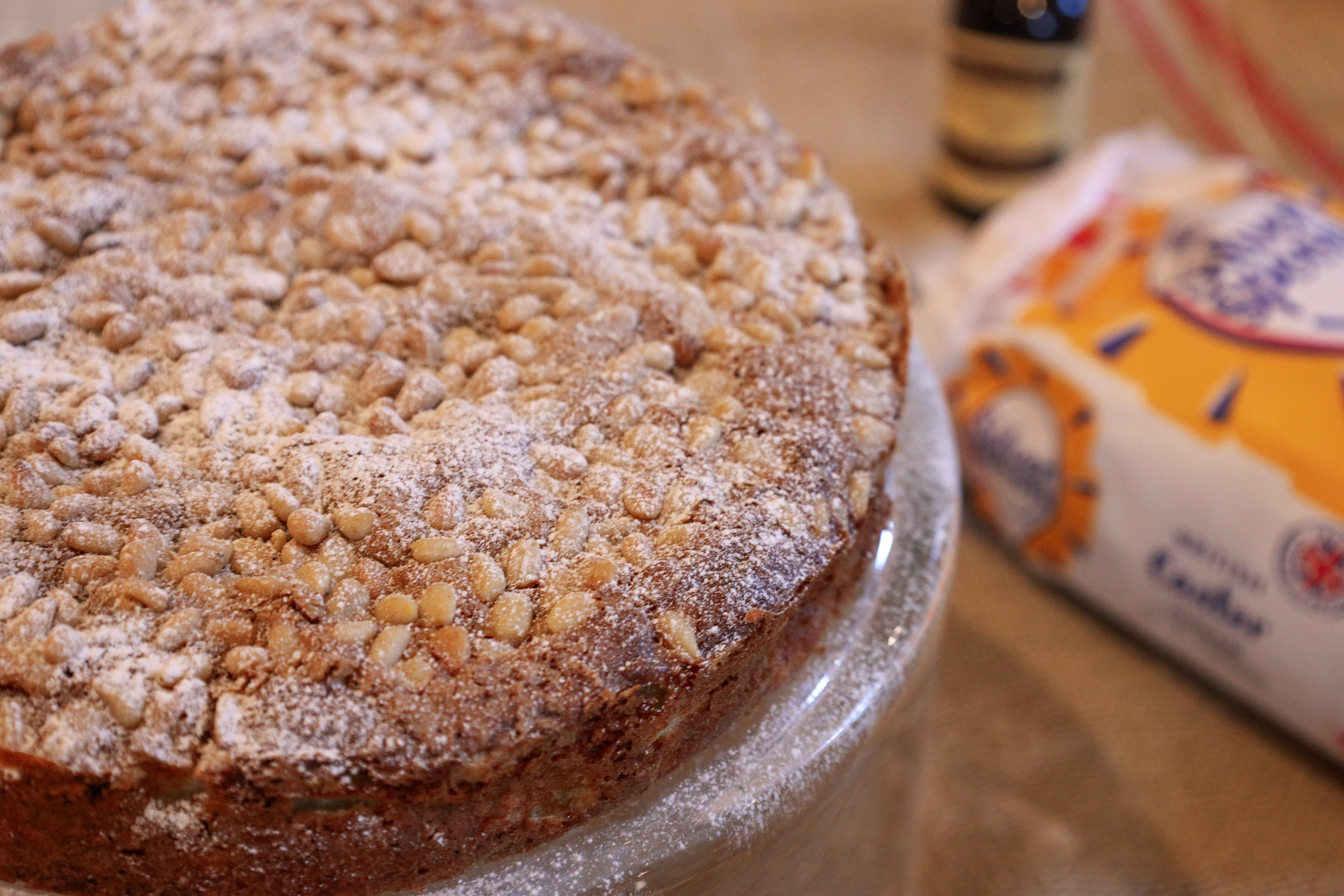 Apple Cake with sugar in background