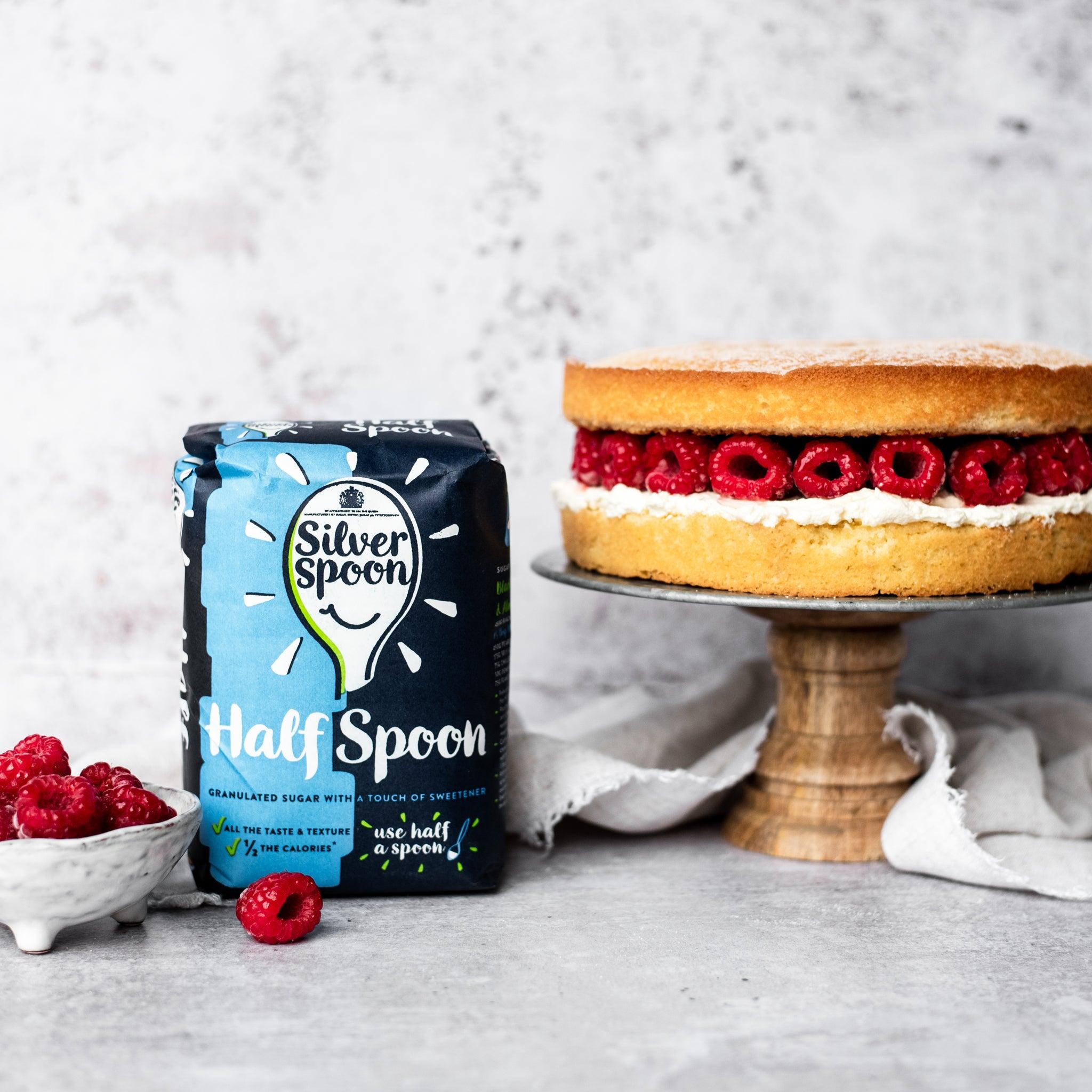 Victoria sponge on cake stand