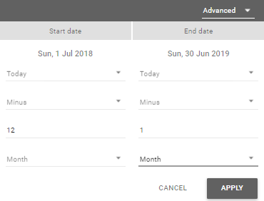 Screen grab showing a start and end date selected