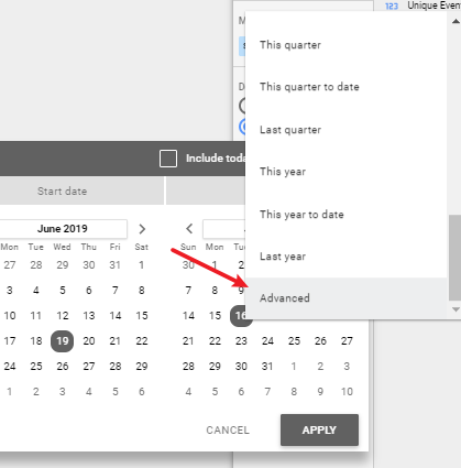 Screen grab showing how to access advanced settings date range