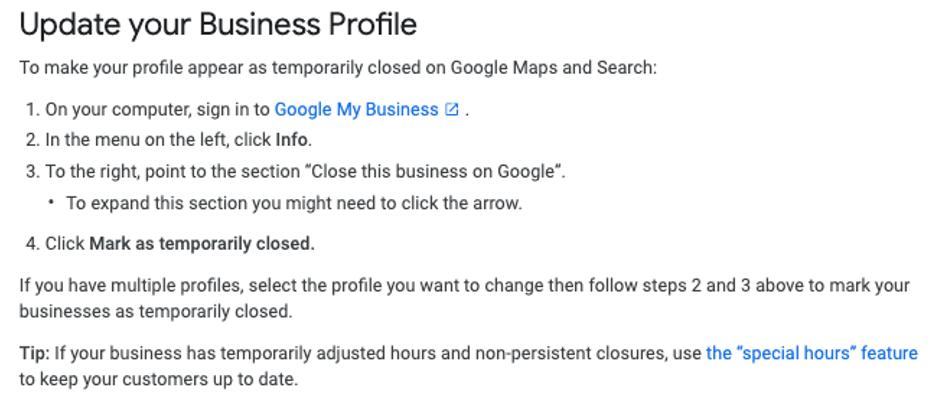 updating google business profile