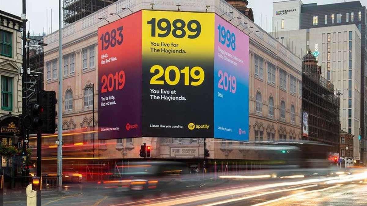 spotify side of building advertising