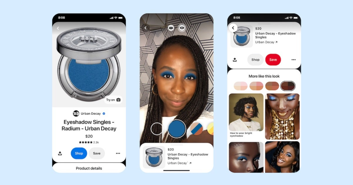 Image shows woman trying on blue eyeshadow via Pinterests AR function.