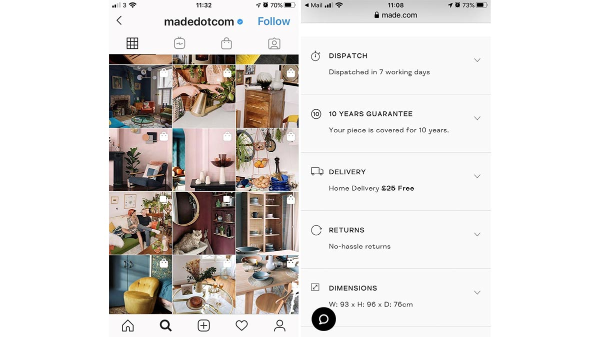 made.com instagram post and delivery options