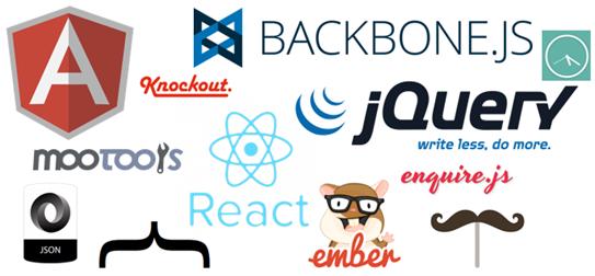 logos of different JavaScript frameworks