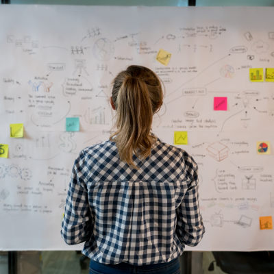Woman wearing black and white checked shirt looking at white board showing mind map with post it notes