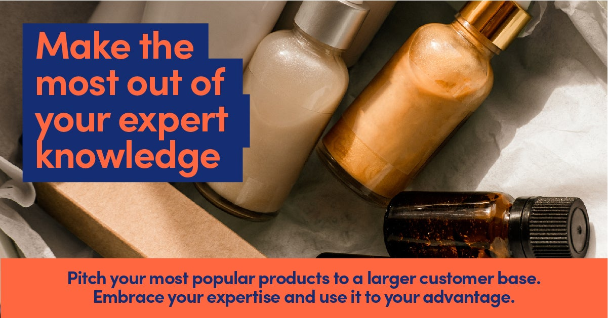 Specialist make up bottles in box to promote small business expert knowledge