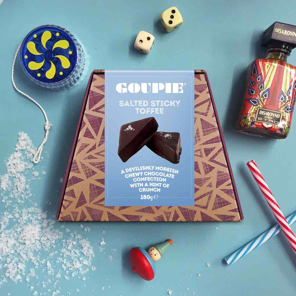 Box of Goupie salted sticky toffee chocolate.