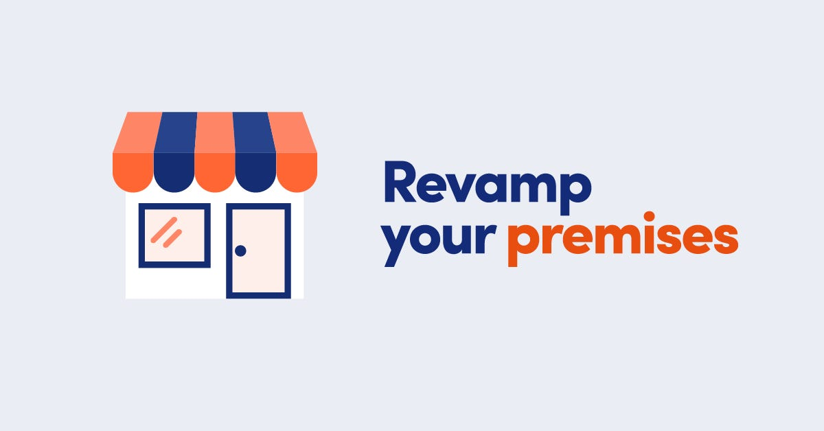 Illustration of shop front with orange and blue awning with text Revamp your premises