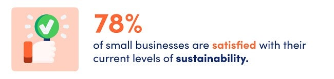 Illustration of hand holding a green sign with a white check mark. Text next to it says 78% of small businesses are satisfied with their current levels of sustainability.