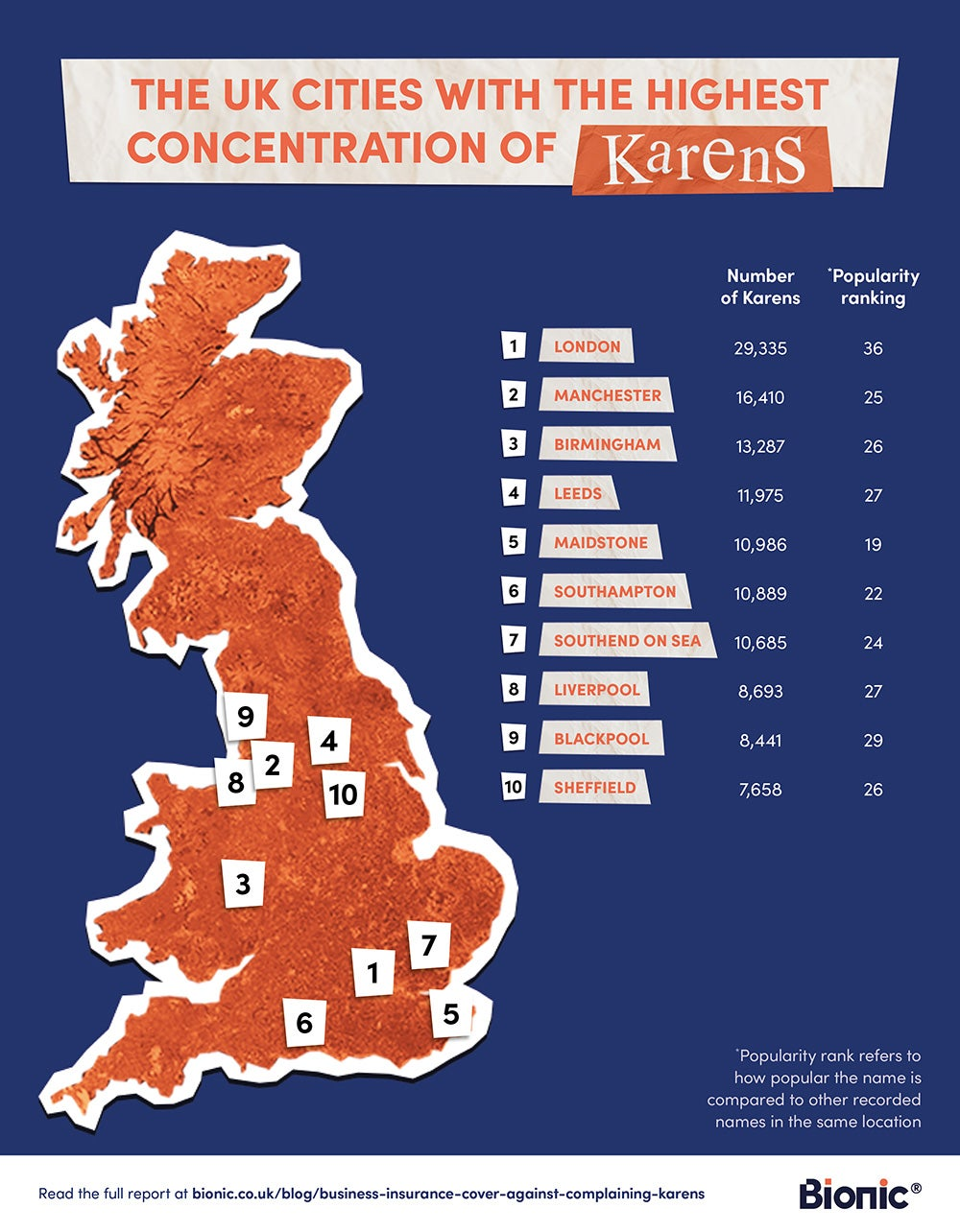 Map of the UK showing the regions with the most number of Karens who complain