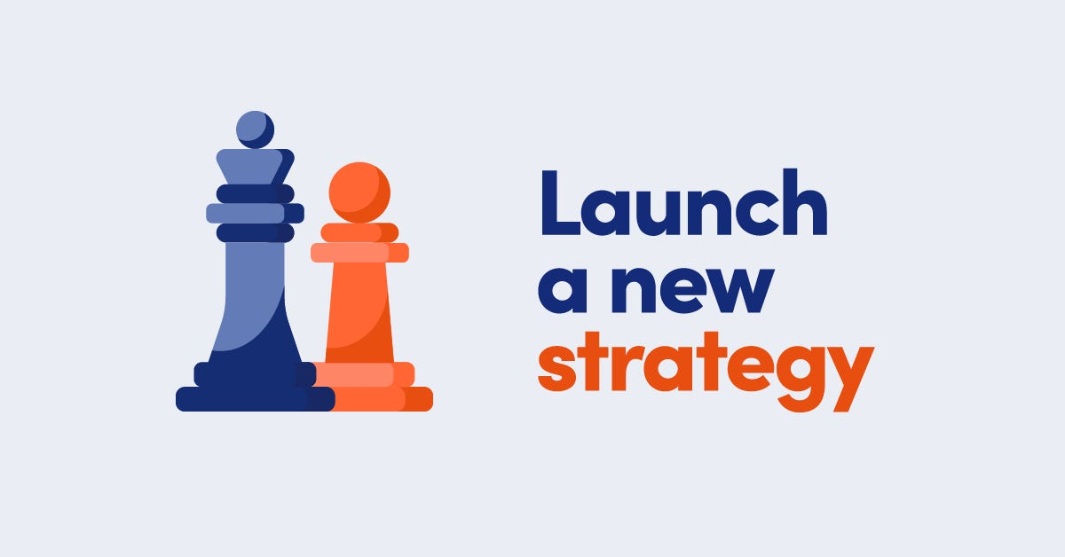 Illustration of a blue chess piece and an orange chess piece with text Launch a new strategy