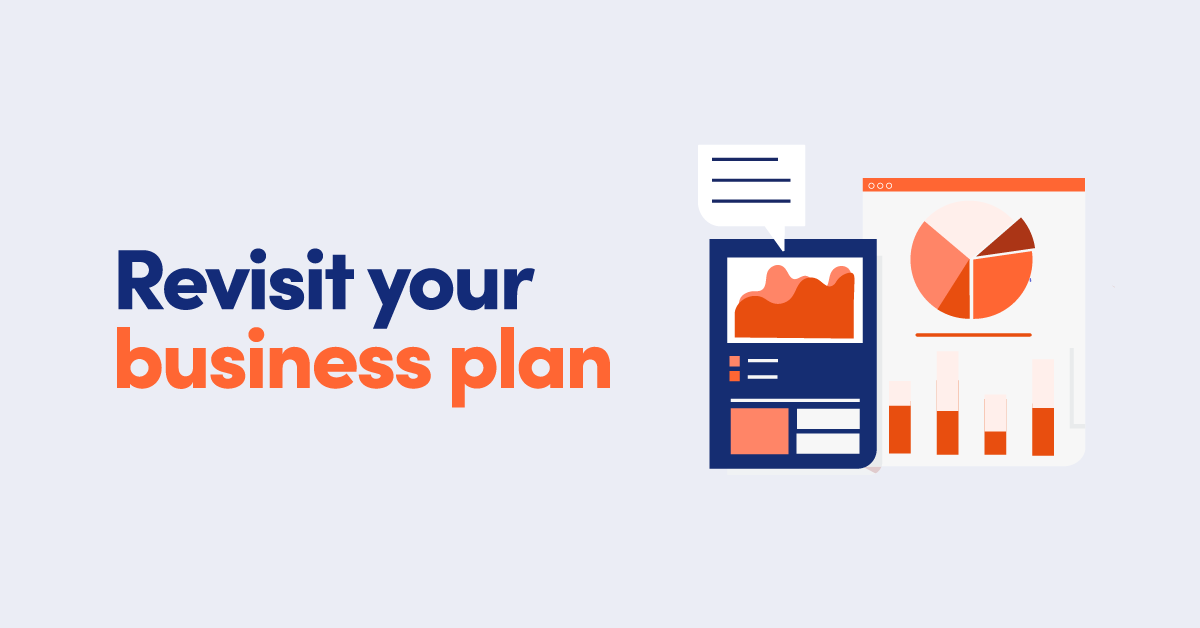 Illustration of performance graphs and pie charts with text Revisit your business plan