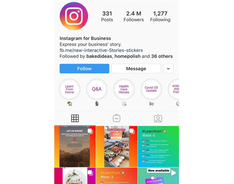 Screenshot of Instagram for Business