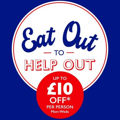 Government Eat Out to Help out logo. Blue background with white circle and 'Eat Out to' written in blue and 'help out' written in red.