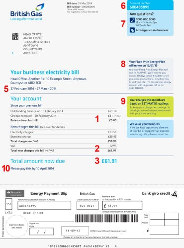 Page one of a British Gas business energy bill with payment giro attached