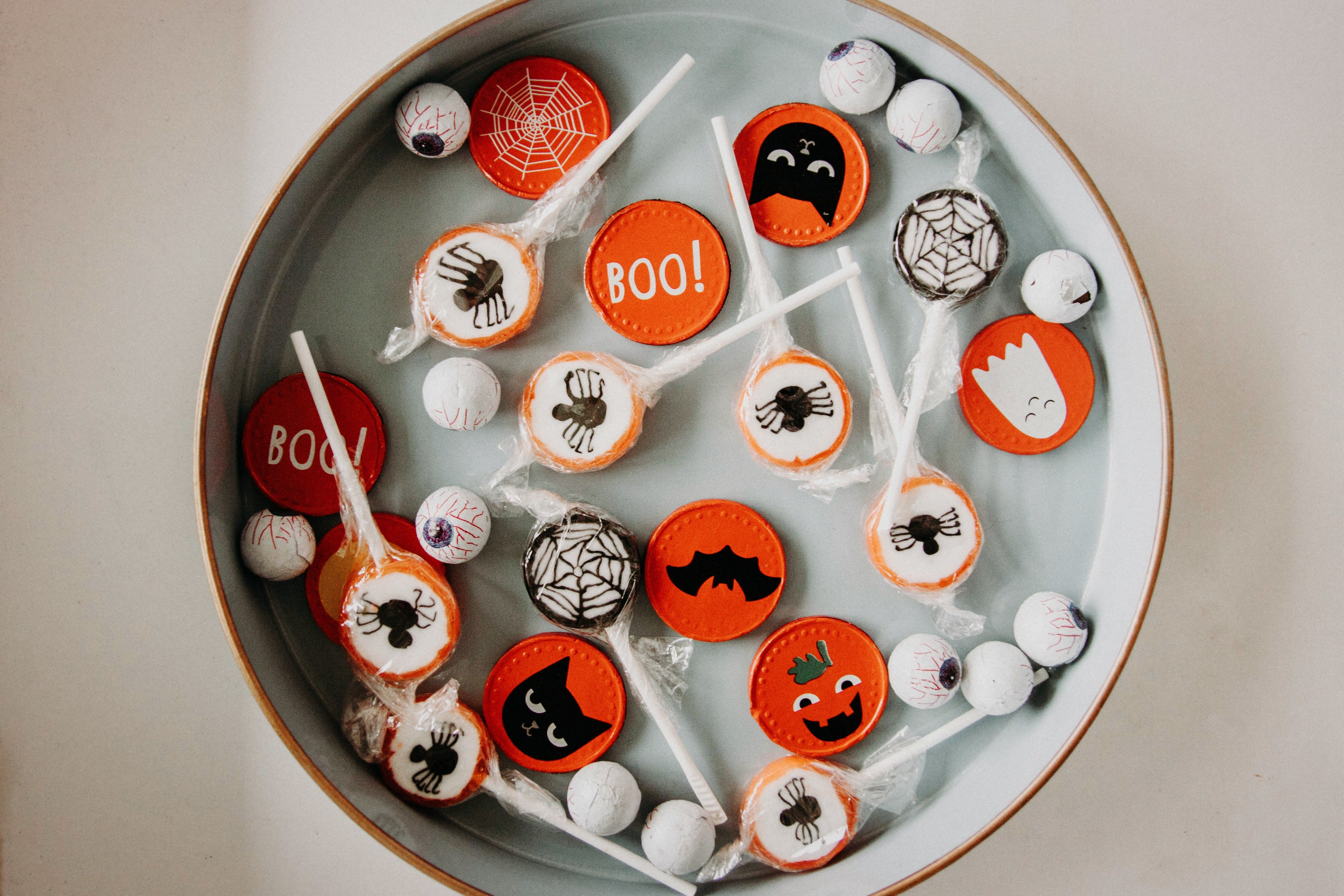 An assortment of Halloween sweets in a bowl