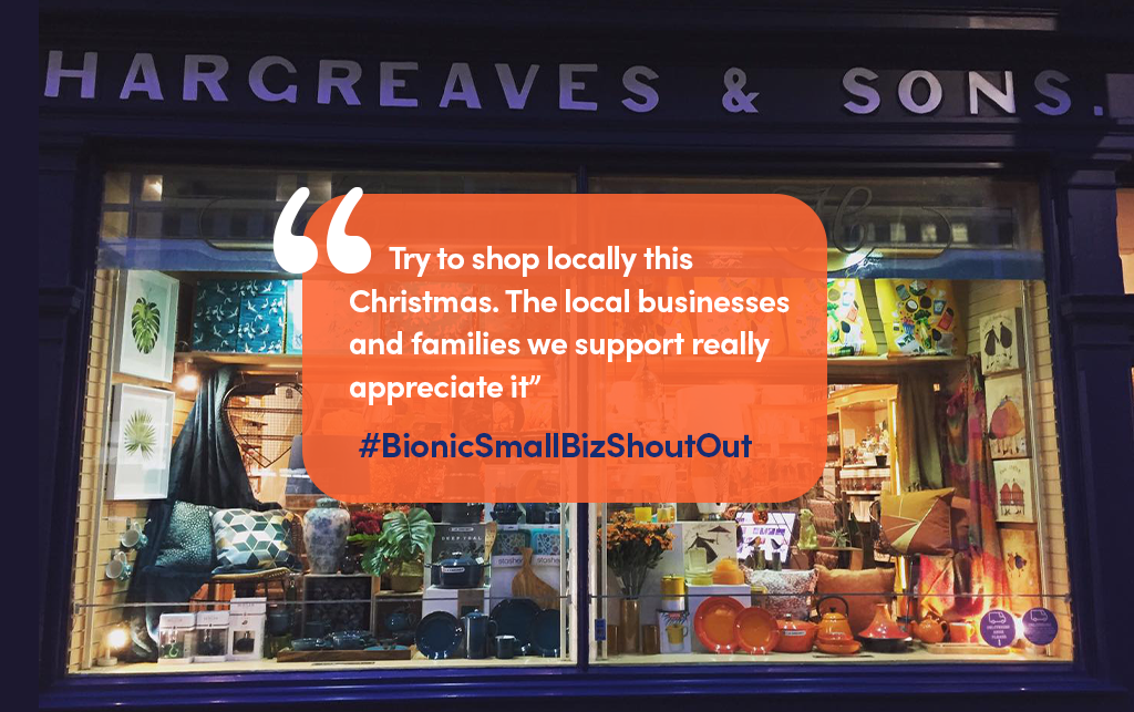 """Hargreaves & Son shop front with quote """"Try to shop locally this Christmas. The local businesses and families we support really appreciate it"""""""