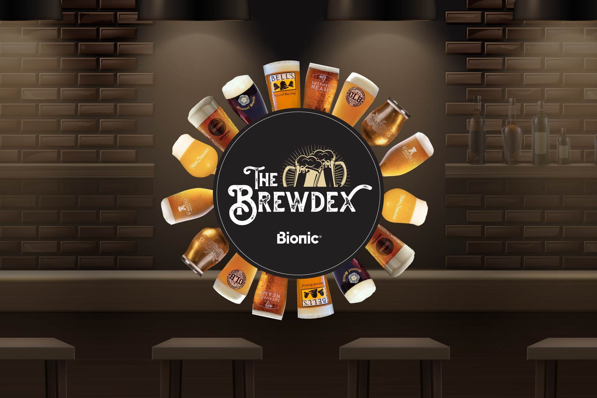 Different pints of beers set around a beer mat that says The Brewdex - Bionic