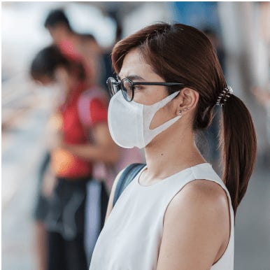 Woman waits on a platform for a train wearing black glasses and a white face mask to stop the spread of coronavirus.